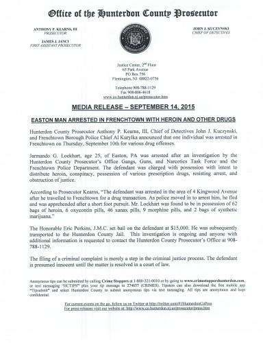 HCPO Media Release 9-14-15 Frenchtown Arrest