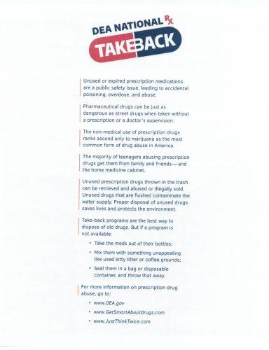 DEA National Take Back Day April 28th, 2018