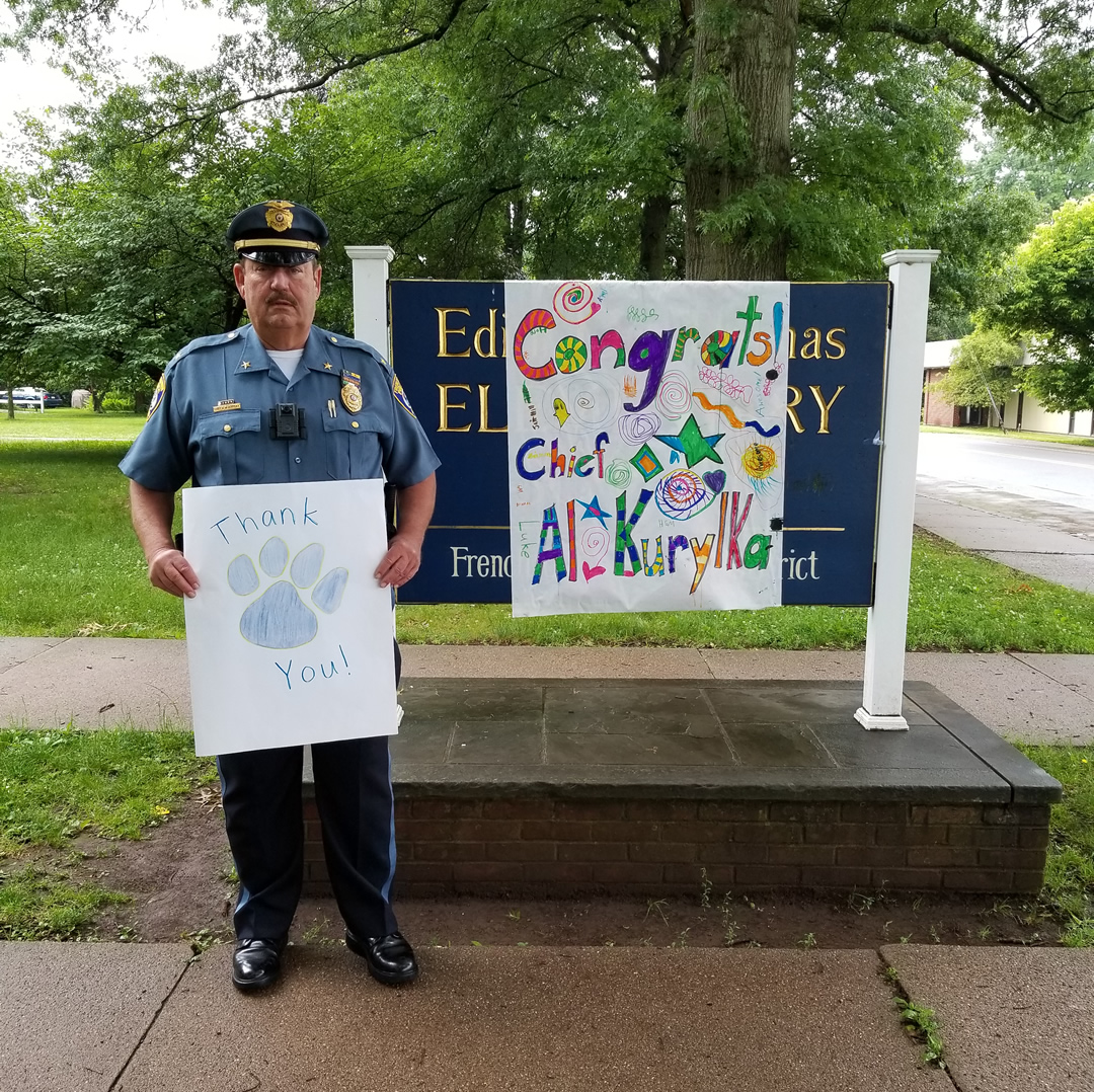 Chief Kurylka had a very warm send off this morning at Edith Ort Elementary School.